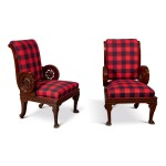A PAIR OF WILLIAM IV CARVED MAHOGANY ARMCHAIRS, CIRCA 1835