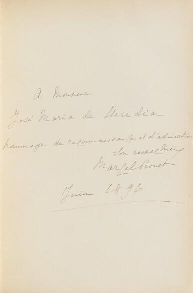 View 1. Thumbnail of Lot 172. Les Plaisirs et les Jours. Ex. de Heredia. Avec envoi de Proust et de M. Lemaire, et une aquarelle originale.