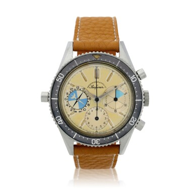View 2. Thumbnail of Lot 13. Reference 2446 Seafarer 'Screw-back Case'  Retailed by Abercrombie & Fitch: A stainless steel chronograph wristwatch with tide indication, Circa 1963.