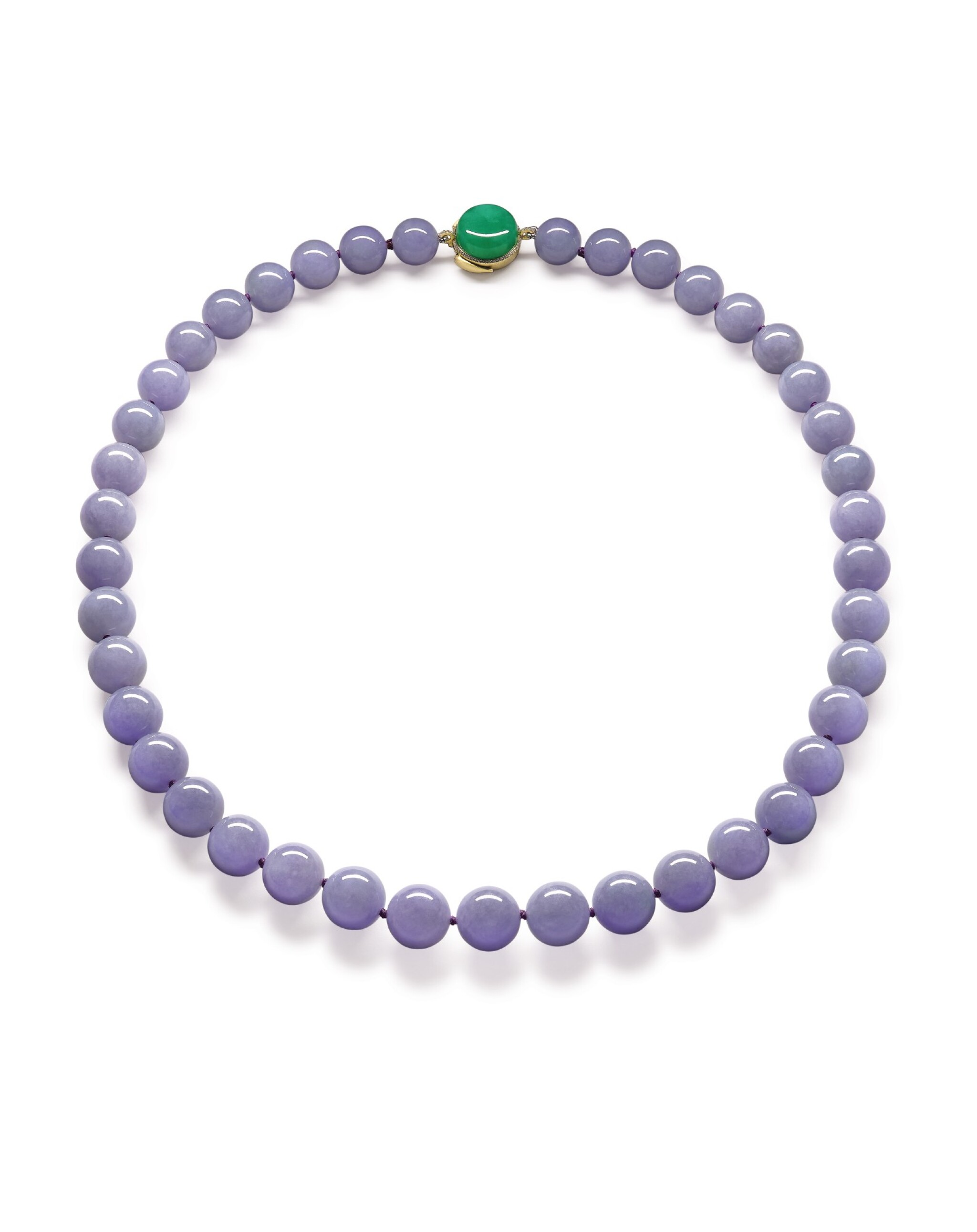 View full screen - View 1 of Lot 1684. Lavender Jadeite Bead, Jadeite and Diamond Necklace | 天然紫色翡翠珠 配 天然翡翠 及 鑽石 項鏈.