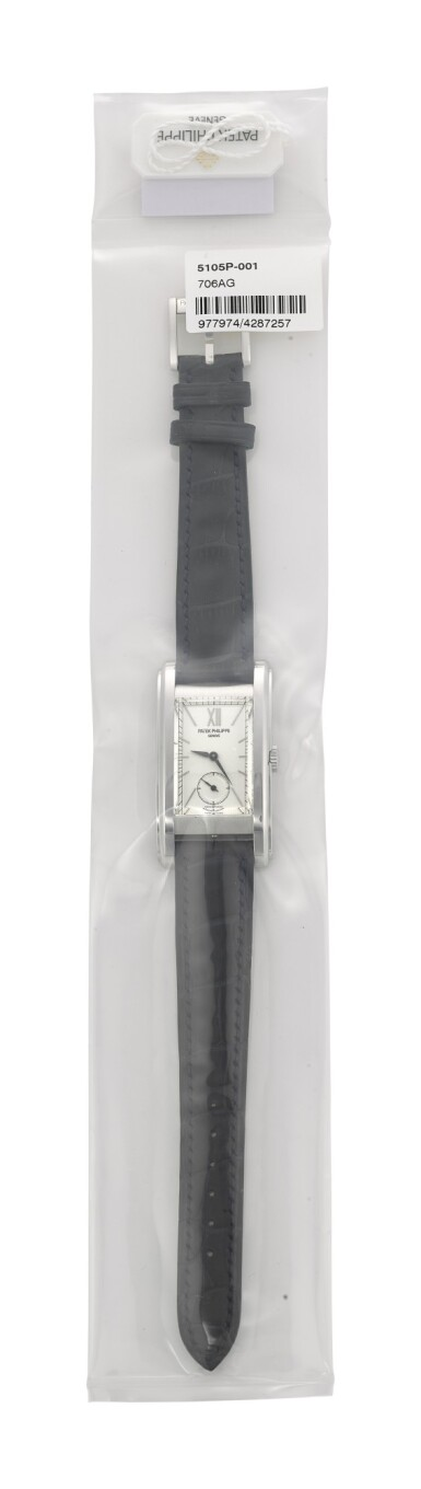 View 2. Thumbnail of Lot 29. PATEK PHILIPPE | REFERENCE 5105, A SINGLE SEALED LIMITED EDITION PLATINUM WRISTWATCH WITH MOVEMENT FROM 1959, MADE TO COMMEMORATE THE OPENING OF PATEK PHILIPPE'S SALON IN GENEVA, CIRCA 2006.