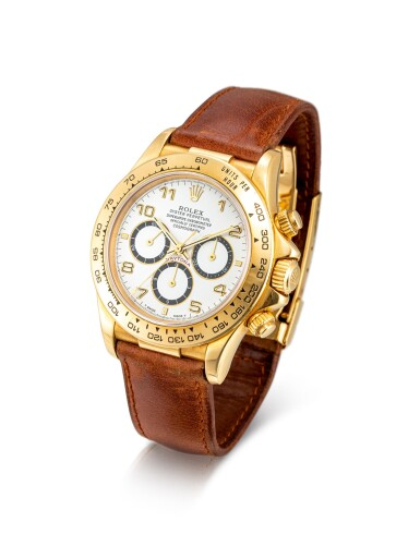 """View 2. Thumbnail of Lot 8023. Rolex   Cosmograph Daytona """"Inverted 6"""", Reference 16518, A yellow gold chronograph wristwatch, Circa 1991   勞力士   Cosmograph Daytona """"Inverted 6"""" 型號16518   黃金計時腕錶,約1991年製."""