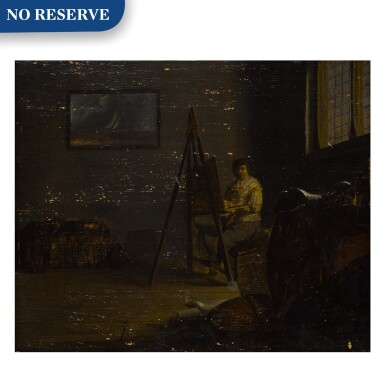View 1. Thumbnail of Lot 24. An interior with an artist at his easel .