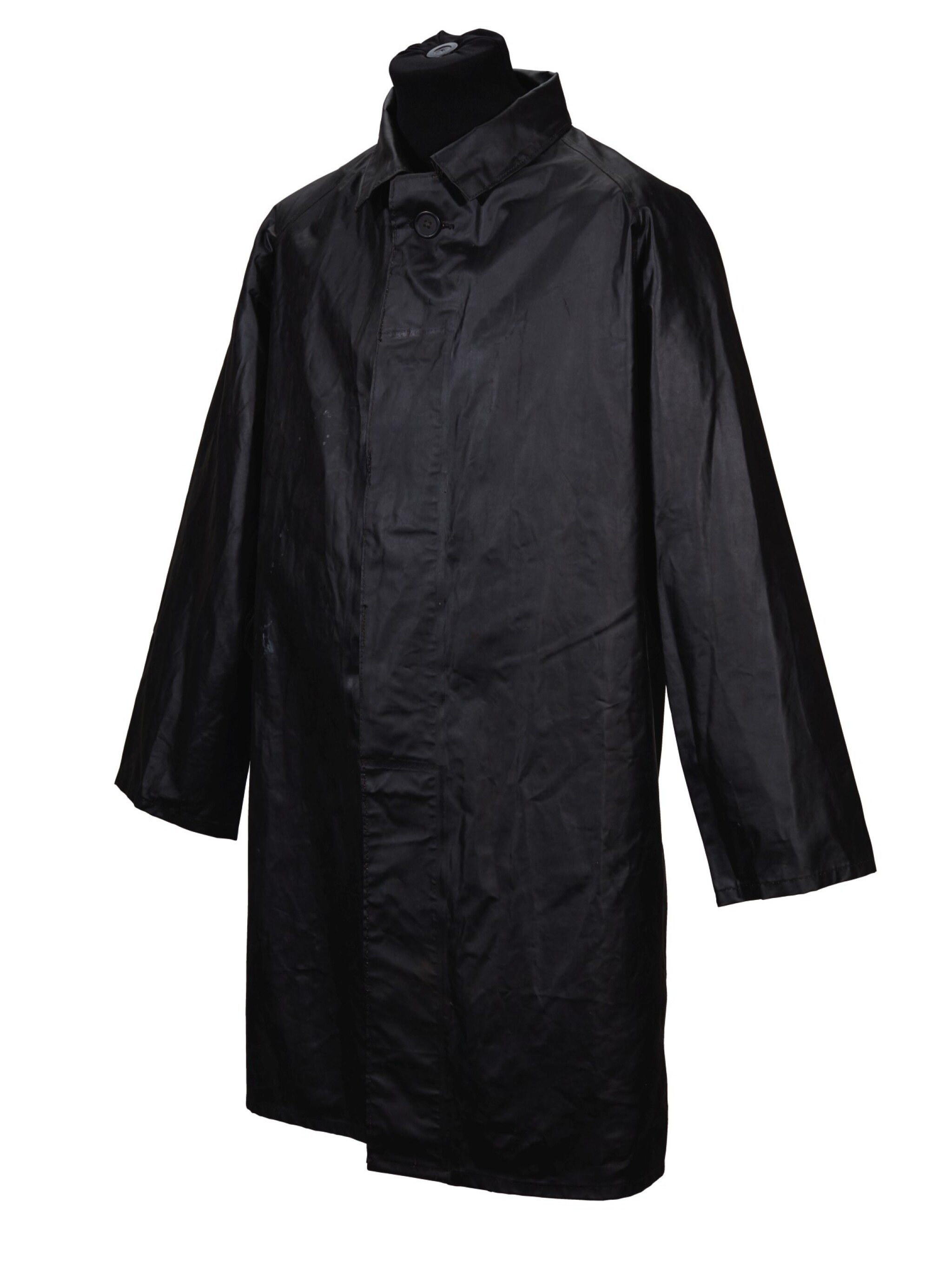GEORGE HARRISON   Black JelTek raincoat, three-quarter length