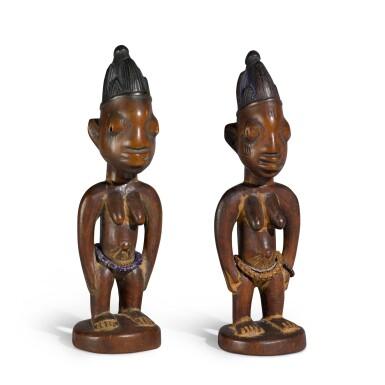 View 3. Thumbnail of Lot 151. Nigeria, Yoruba Peoples, circa 1900   Ere Ibeji Figures.