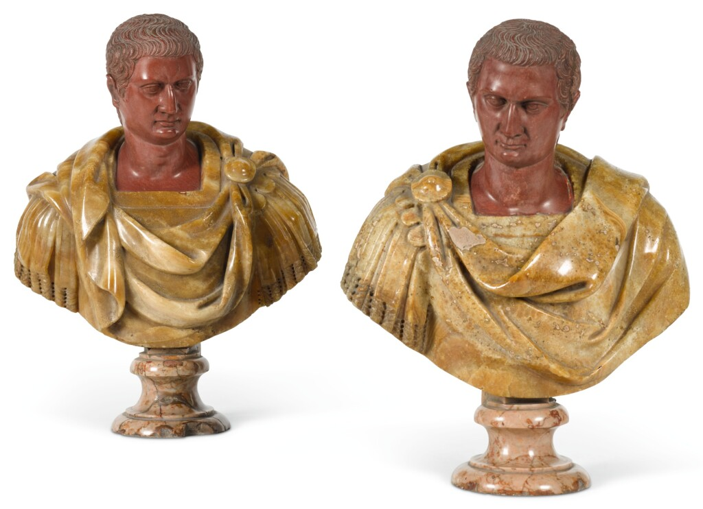 ITALIAN, ROME, 18TH CENTURY AFTER THE ANTIQUE | Pair of Busts of Roman Emperors