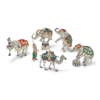 ELEPHANTS AND CAMEL: A GROUP OF SILVER AND ENAMEL CIRCUS FIGURES, DESIGNED BY GENE MOORE FOR TIFFANY & CO., NEW YORK, CIRCA 1990