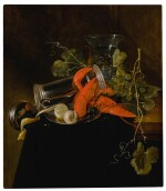 Still life with two lobsters, an overturned tankard, a berkemeier glass, grapes, and a lemon
