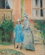 Deux jeunes filles dans un jardin, devant un perron