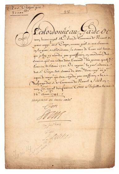 """View 1. Thumbnail of Lot 70. LOUIS XIV   document signed and inscribed (""""bon, Louis""""), about paying money to Antoine Crozat, 1704."""