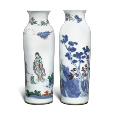 View 1. Thumbnail of Lot 6. A pair of inscribed wucai sleeve vases, Qing dynasty, Kangxi period.