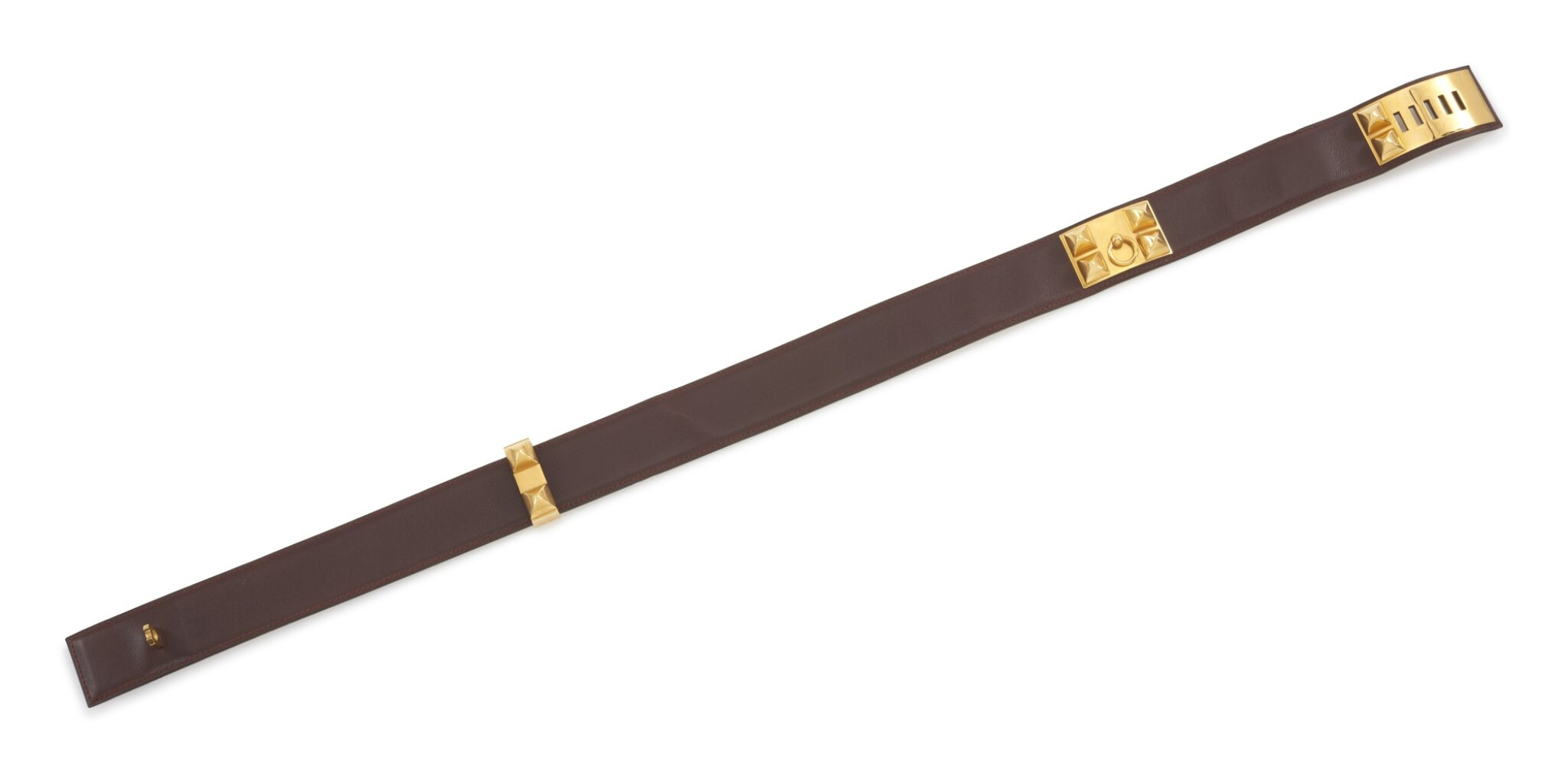 Burgundy leather and gold hardware belt, Collier de chien 70, Hermès, 1996