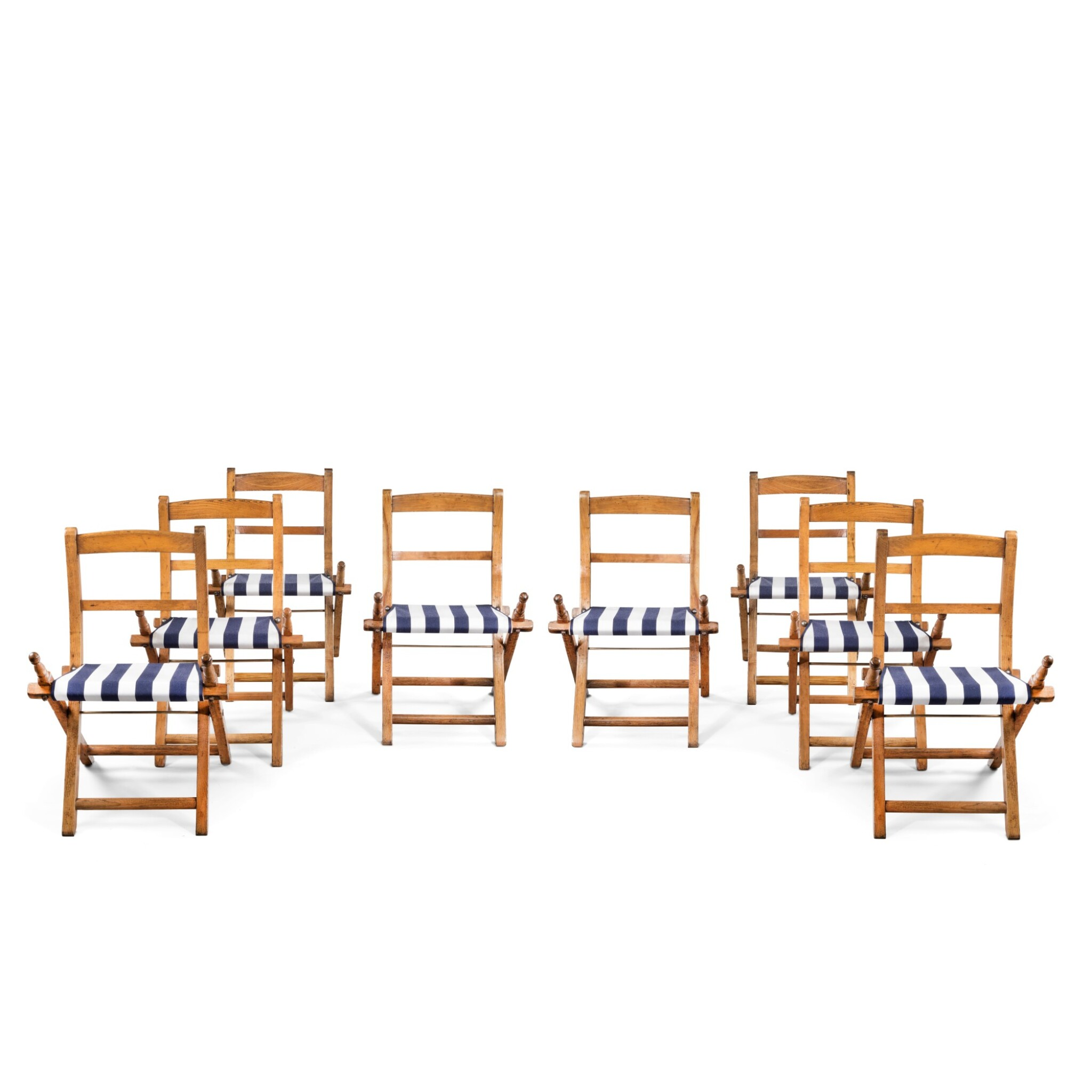 View full screen - View 1 of Lot 7. A SET OF EIGHT SHIP'S ASH AND BEECH FOLDING CHAIRS, EARLY 20TH CENTURY.
