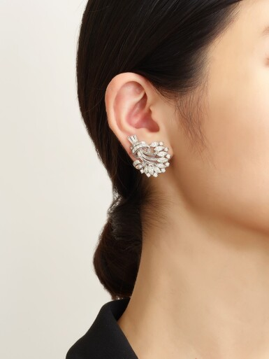 View 4. Thumbnail of Lot 1025. PAIR OF DIAMOND EAR CLIPS, 1950s  | 鑽石耳環一對, 1950年代.