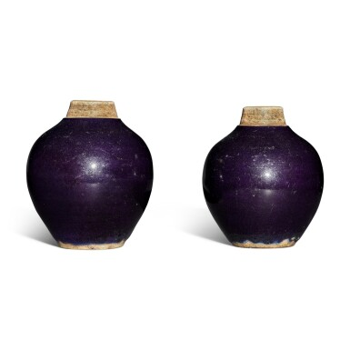 View 4. Thumbnail of Lot 117. A pair of purple-glazed tea caddies, Qing dynasty.