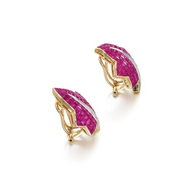 View 2. Thumbnail of Lot 57. Pair of ruby and diamond ear clips.