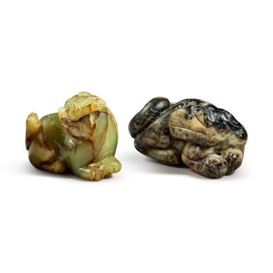 View 4. Thumbnail of Lot 172. Two jade 'Buddhist lions' pendants, 20th century.