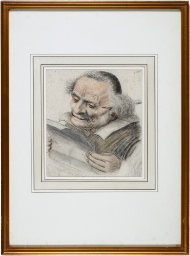 View 2. Thumbnail of Lot 24. A cleric reading a letter, a quill behind his ear.