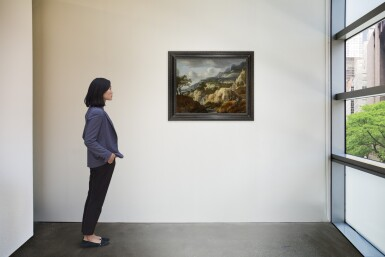 View 4. Thumbnail of Lot 224. JAN LOOTEN | A MOUNTAINOUS LANDSCAPE WITH TRAVELLERS ON A PATH NEAR A WATERFALL AND A DRAUGHTSMAN ON A ROCK, A TOWN BEYOND.