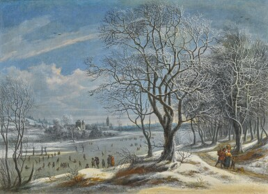 View 1. Thumbnail of Lot 159. DANIËL VAN HEIL | Winter landscape and skaters with figures on a path in a wood, a town (probably Antwerp) beyond.