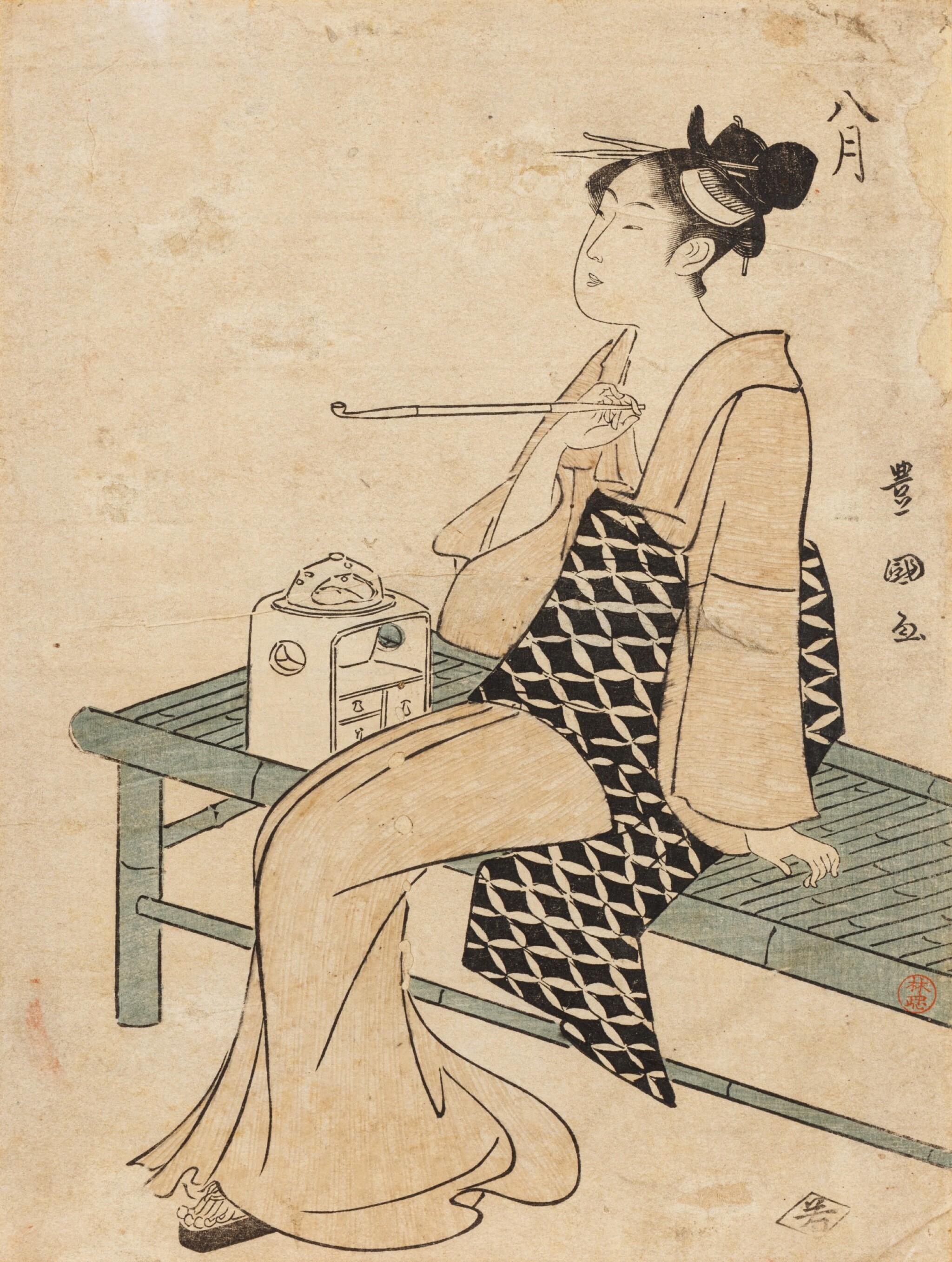 View 1 of Lot 271. Utagawa Toyokuni I Japan Femme fumant sur un banc   Utagawa Toyokuni I, Lady smoking seated on a bench, Japan   日本 歌川豊国 《八月》  Utagawa Toyokuni I, Lady smoking seated on a bench, Japan.