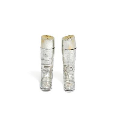 View 2. Thumbnail of Lot 118. A pair of novelty Elizabeth II silver salt and pepper shakers, Garrard & Co. Ltd., London, 1991.