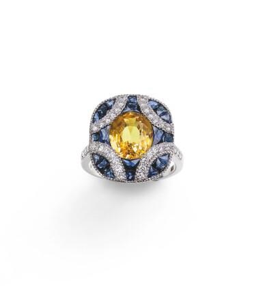 Yellow sapphire, sapphireand diamond ring [Bague saphir jaune, saphirs et diamants]
