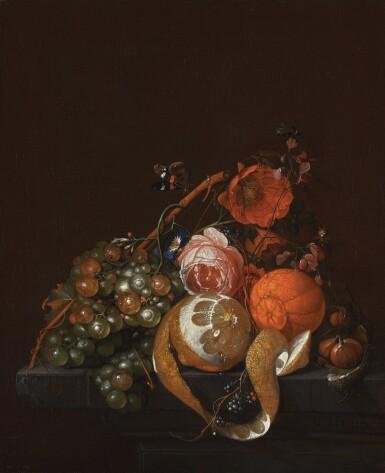 View 1. Thumbnail of Lot 157. DAVID CORNELISZ. DE HEEM |  Still life with flowers, a lemon, a tangerine and other fruit.