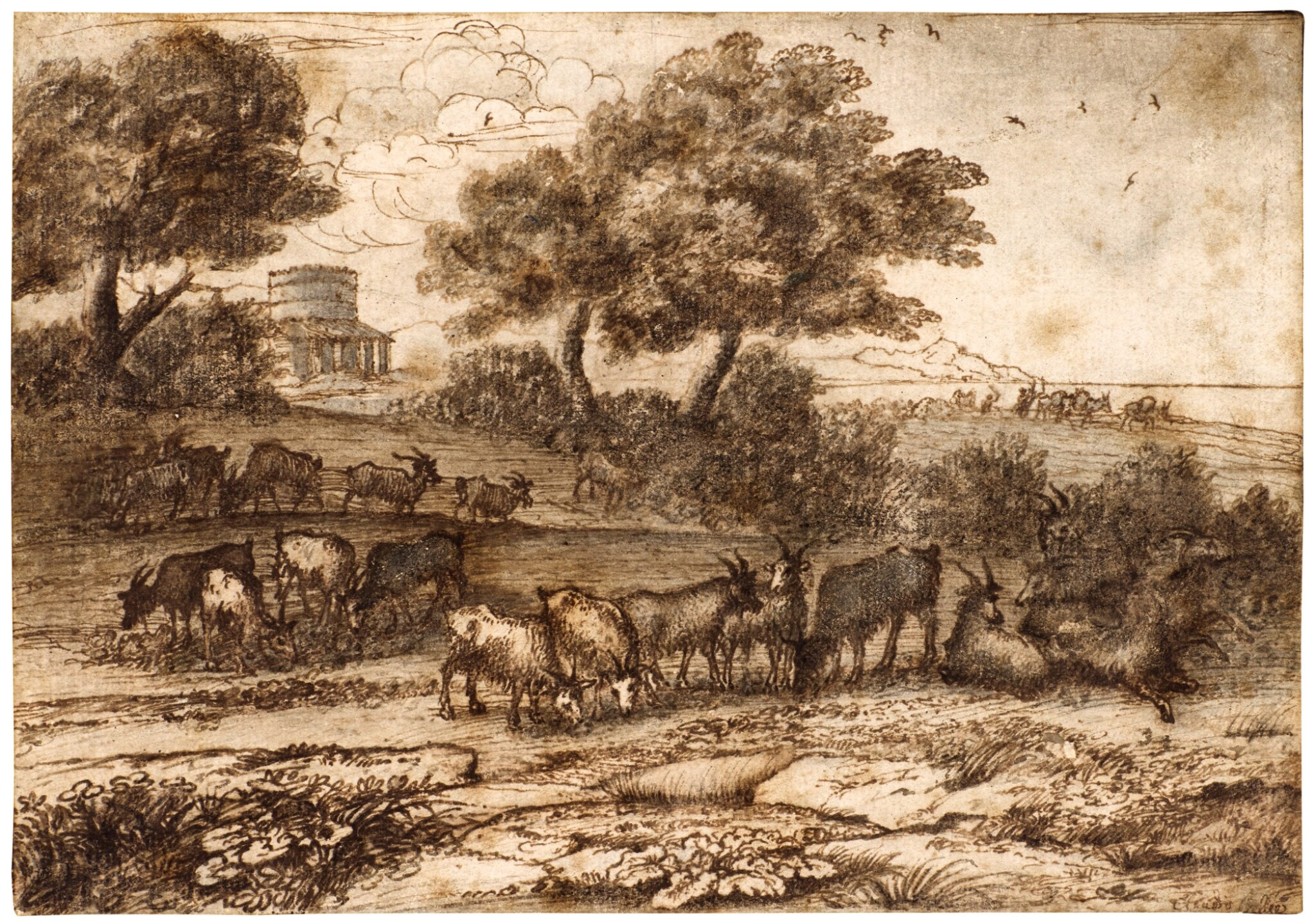 View full screen - View 1 of Lot 29. A pastoral landscape with a coastal view in the background, a building with a tower to the left, herdsman and cattle    .