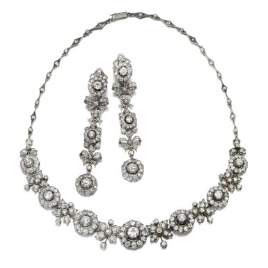DIAMOND NECKLACE, RETAILED BY CARTIER, AND A PAIR OF EARRINGS, LATE 19TH CENTURY AND LATER