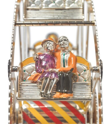 A SILVER AND ENAMEL FERRIS WHEEL, DESIGNED BY GENE MOORE FOR TIFFANY & CO., NEW YORK, CIRCA 1990