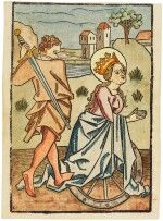 Beheading of St Catherine of Alexandria, single sheet woodcut, [Southern Germany, c. 1470-1480]