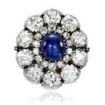 From the Collection of Her Royal Highness The Princess Margaret, Countess of Snowdon: Sapphire and diamond brooch, 1890s