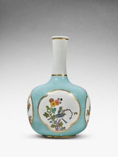 View 5. Thumbnail of Lot 35. A very rare Meissen Augustus Rex large seladon-ground bottle vase, Circa 1735 .