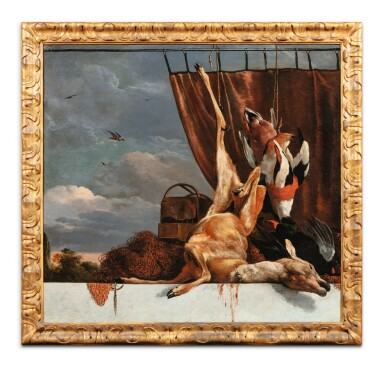 View 6. Thumbnail of Lot 32. Still life with a heron and a blue curtain; Still life with a deer and a red curtain.