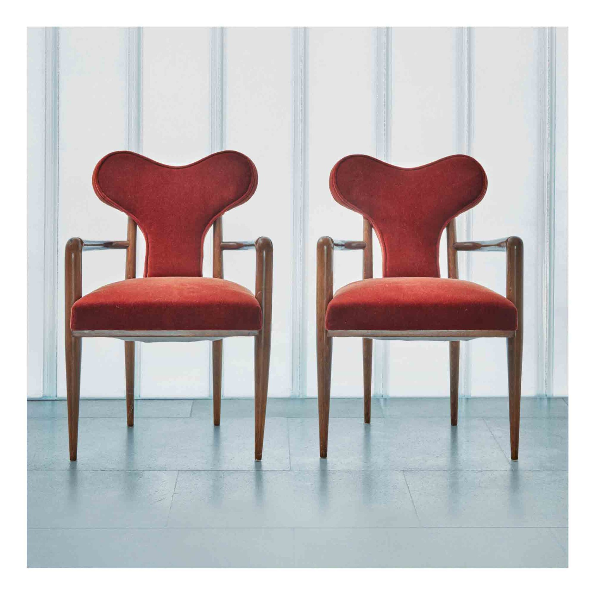 """View 1 of Lot 399. Pair of """"Coeur"""" Armchairs."""