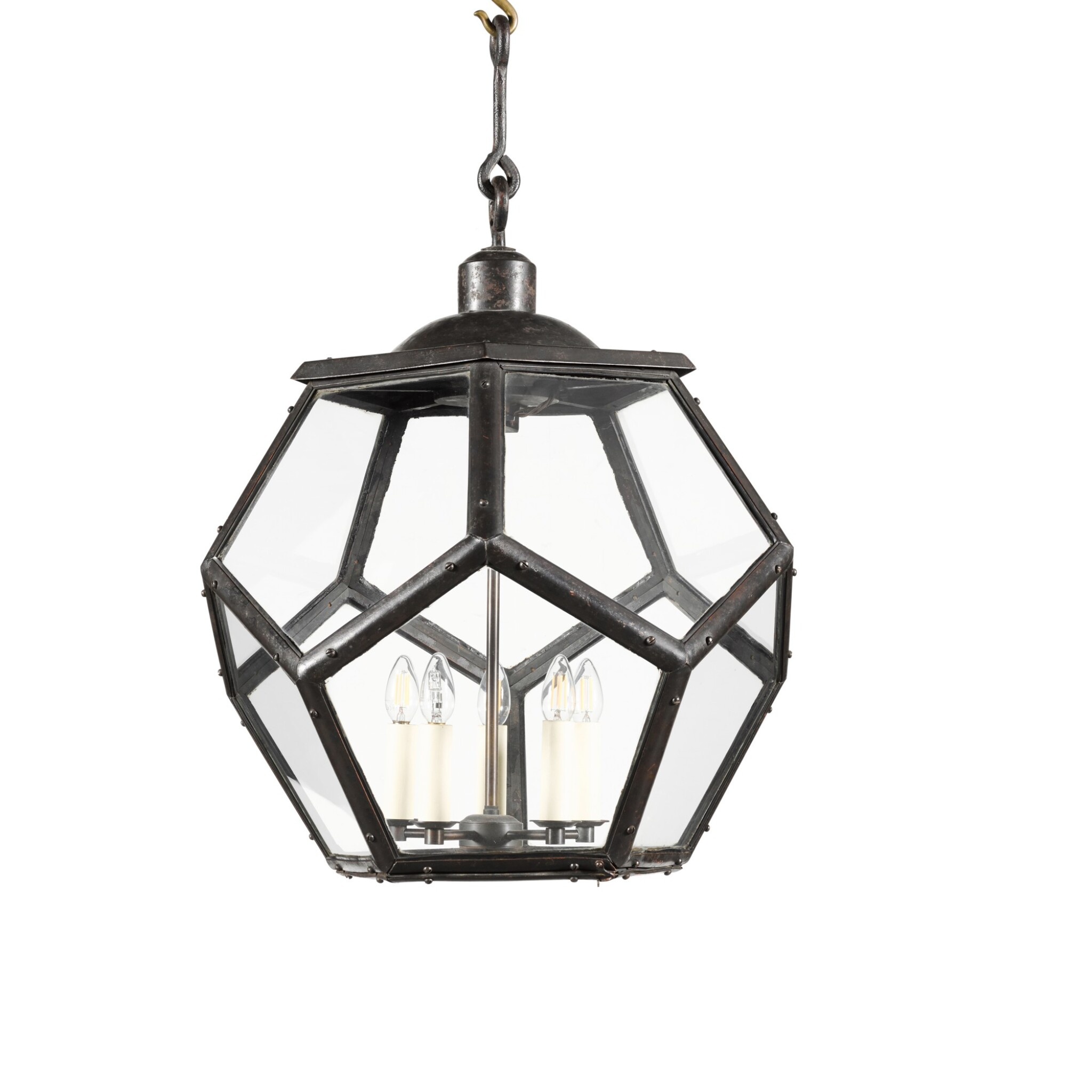 View full screen - View 1 of Lot 116. A LARGE PATINATED BRASS LANTERN, EARLY 20TH CENTURY, IN THE MANNER OF ADOLF LOOS.