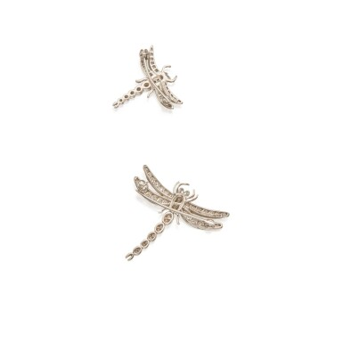View 2. Thumbnail of Lot 346. Tiffany & Co. | Pair of Diamond 'Dragonfly' Brooches.