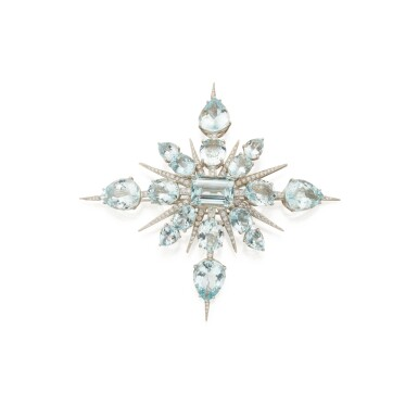 View 1. Thumbnail of Lot 339. Tony Duquette | Aquamarine and Diamond 'Star' Brooch.
