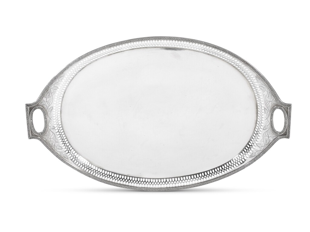A LARGE SILVER GALLERIED TRAY, RIVAGE, ST PETERSBURG, CIRCA 1885