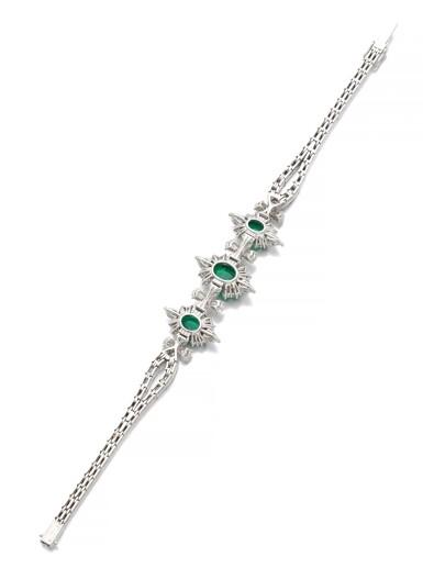 View 3. Thumbnail of Lot 1171. Emerald and diamond bracelet.