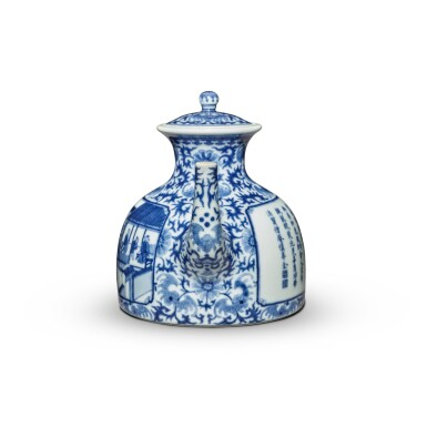 View 4. Thumbnail of Lot 76. An imperially inscribed blue and white 'Mount Hui Temple' teapot and cover, Seal mark and period of Qianlong | 清乾隆 青花御題詩烹茶圖闊底壺 《大清乾隆年製》款.