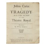 SHAKESPEARE, WILLIAM | Julius Caesar. A Tragedy as t is now acted at the Theatre Royal. London: by H.H. Jun fro Hen. Heringman and R. Bentley, 1684