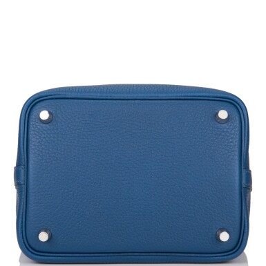 View 6. Thumbnail of Lot 8. Hermès Deep Blue and Anemone Picotin Lock 18cm of Clemence Leather with Palladium Hardware.
