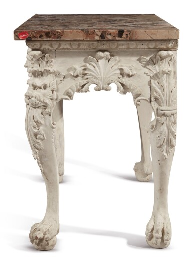 A GEORGE II STYLE WHITE-PAINTED CONSOLE WITH BRECHE D'ALEP MARBLE TOP, LATE 19TH/EARLY 20TH CENTURY