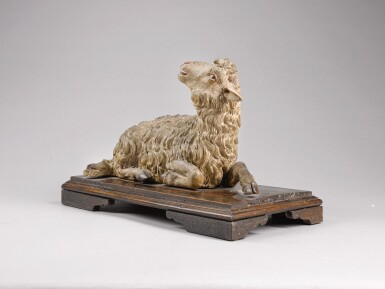 View 2. Thumbnail of Lot 63.  ITALIAN, NAPLES, 18TH CENTURY | RECLINING LAMB.