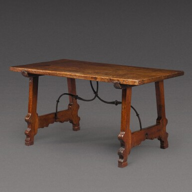 View 2. Thumbnail of Lot 176. A Spanish Baroque walnut trestle table, 17th century.