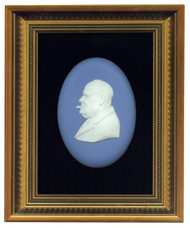 View 1. Thumbnail of Lot 86.  [Winston Churchill] — Arnold Machin, artist   Wedgwood Portrait Medalion, commemorating Churchill's 90th birthday, 1964.