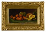 LEVI WELLS PRENTICE | STILL LIFE OF PEACHES, CANTALOUPE AND PINEAPPLE