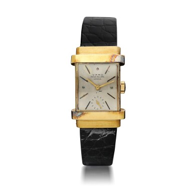 View 1. Thumbnail of Lot 137. PATEK PHILIPPE  | REFERENCE 1450 'TOP HAT' RETAILED BY RAYMOND YARD: A YELLOW GOLD RECTANGULAR WRISTWATCH, CIRCA 1950.